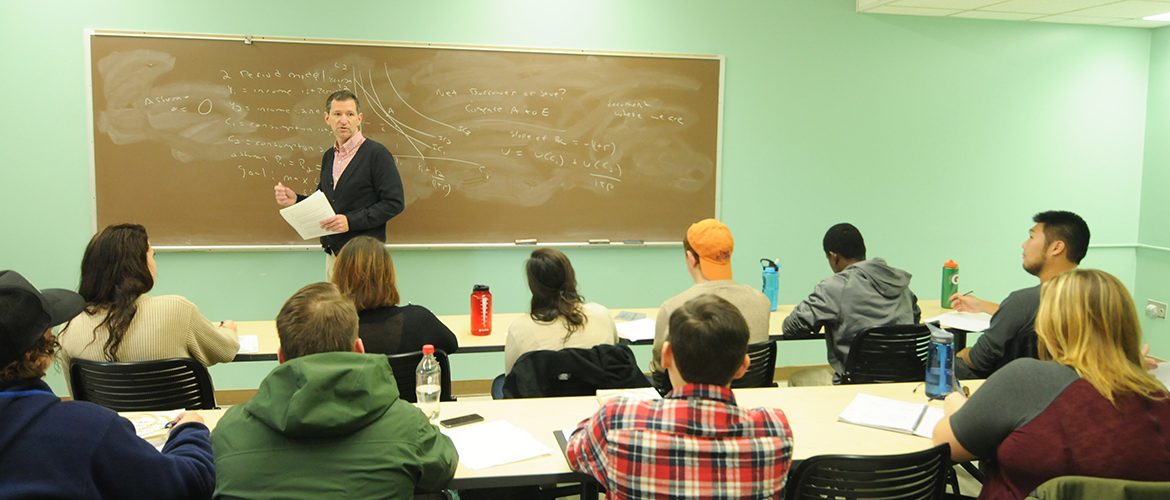 Professor teaching class in Roberts Learning Center
