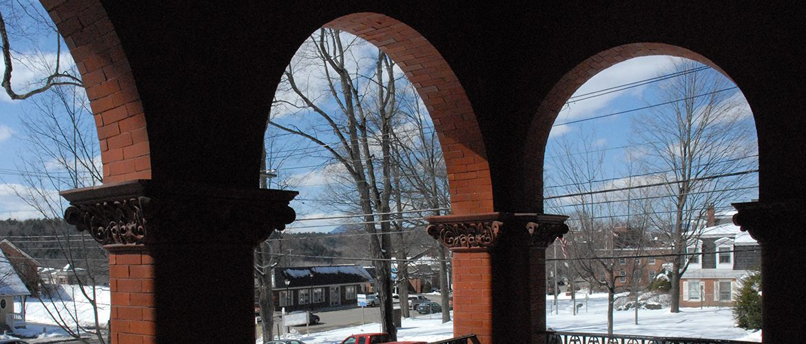 UMF's Merril Hall arches in wintertime