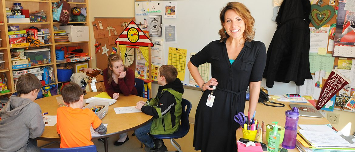 UMF alumni teacher Morgan Campbell Leso in an elementary school classroom