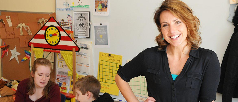 UMF alumni teacher Morgan Campbell Leso in an elementary school classroom