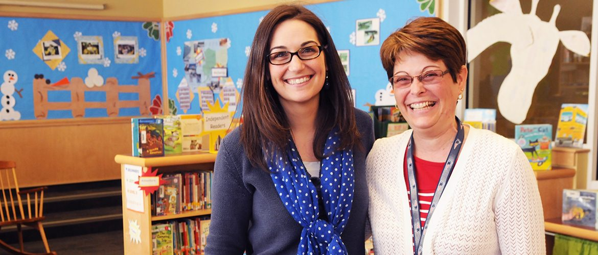 UMF alumni teachers Nicole Murphy Lesperance and Rhonda Hartford at an elementary school