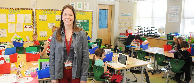 Student teacher in school classroom