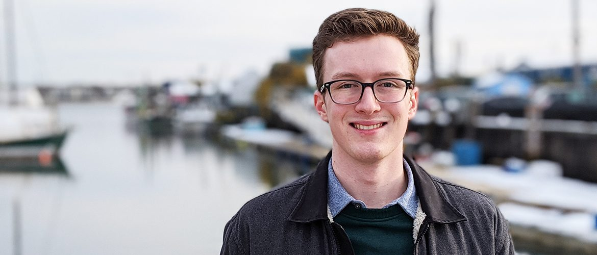 Student intern on the Portland waterfront