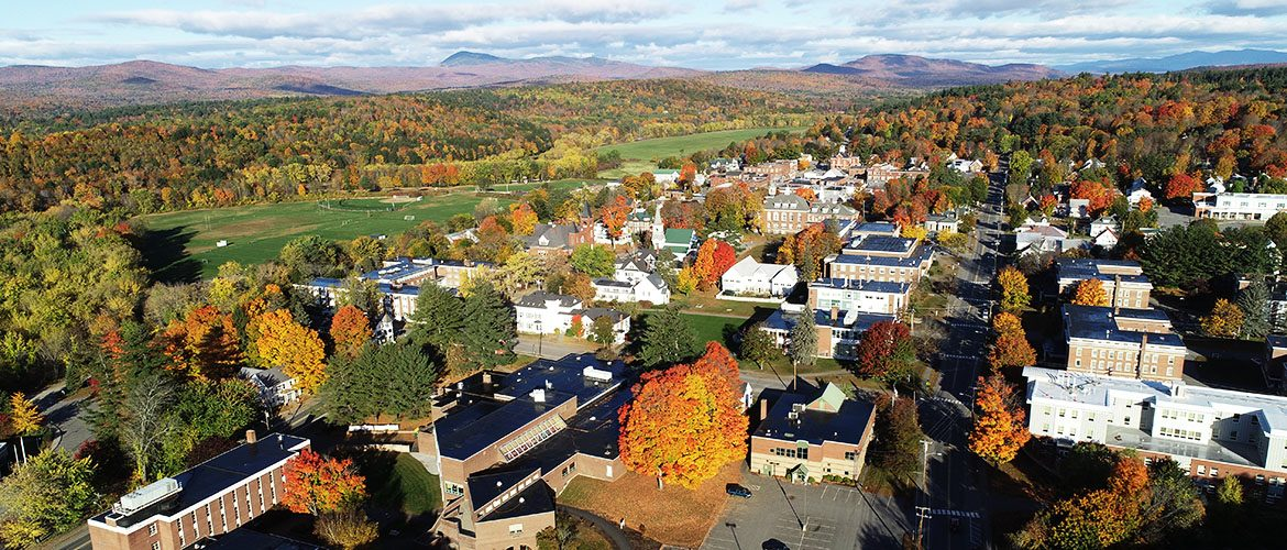 Drone image of the campus and surrounding area