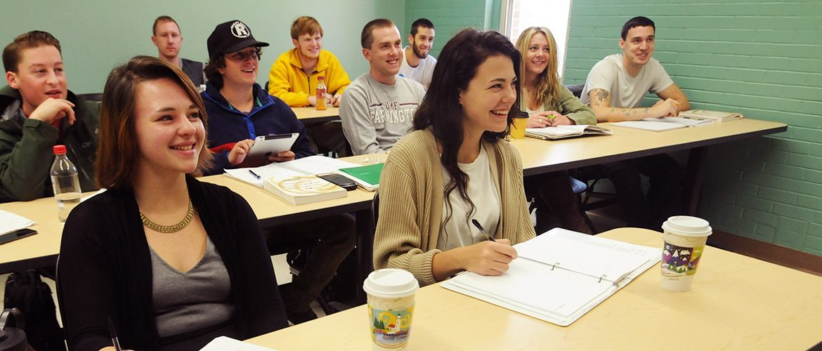 Students in a business psychology classroom