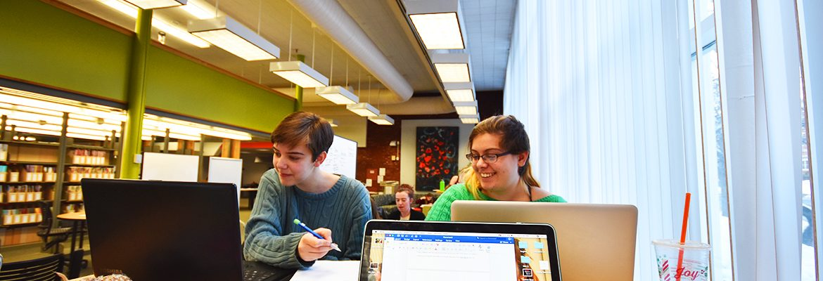 Two students studying in Mantor Library