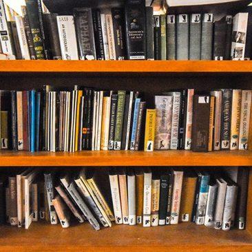 Music books on a shelf