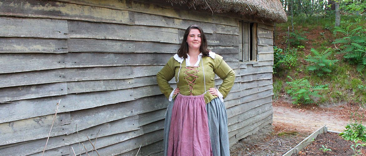 Student interning at Plimouth Plantation in Plymouth, Massachusetts