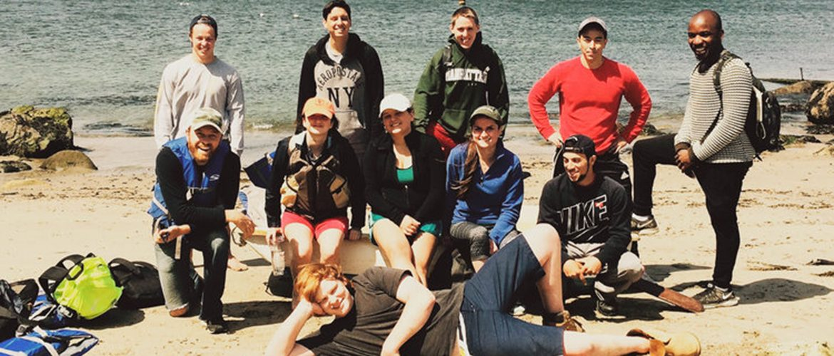 Group of students at a coastal research site