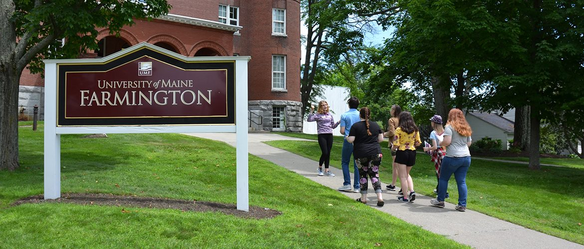 High school students taking a group campus tour