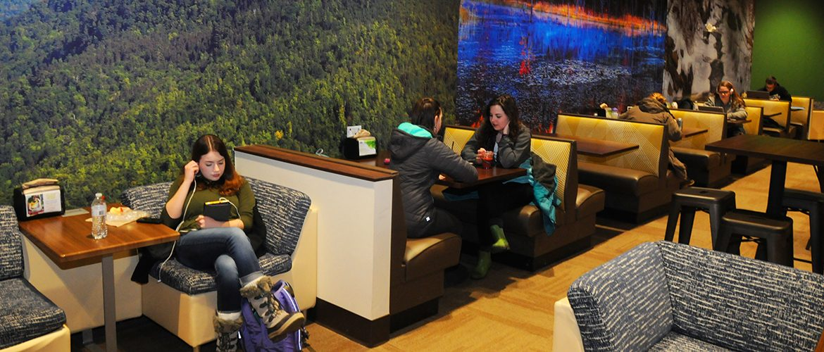 Students in the on-campus Beaver Lodge dining area