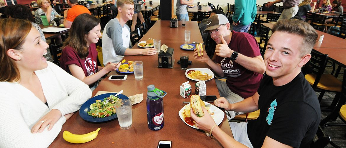 Students eating dinner in the Campus Dining Hall
