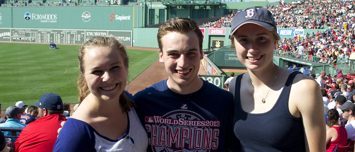 Students attending a Boston Red Sox game at Fenway Park