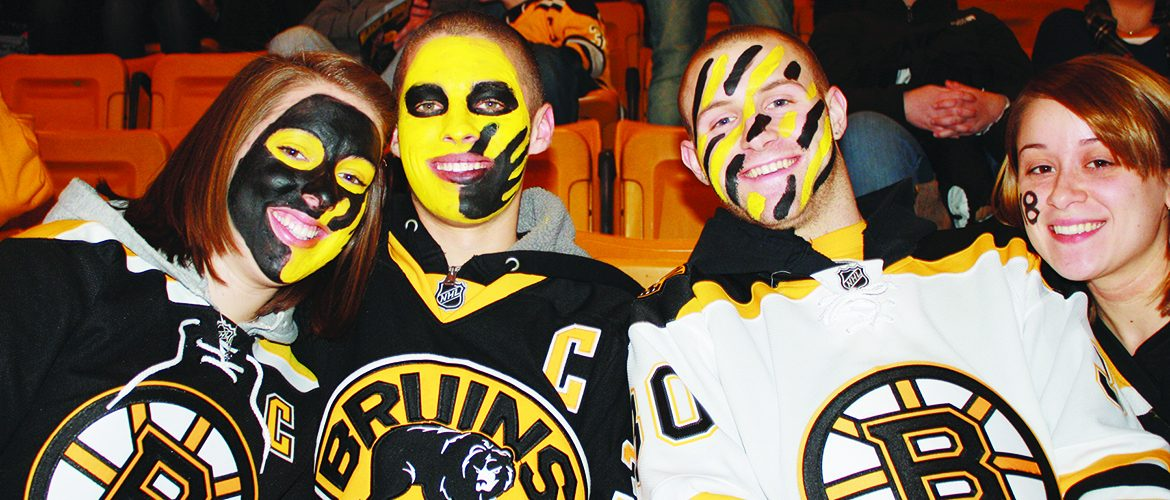 Students attending a Boston Bruins game in Boston