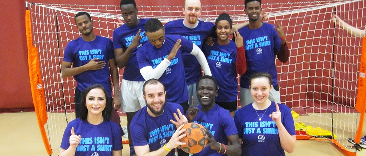 Student intramural team in the Fitness and Recreation Center