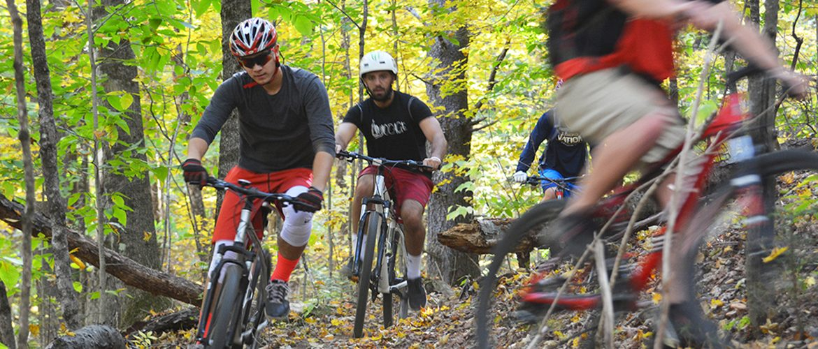 Students mountain biking