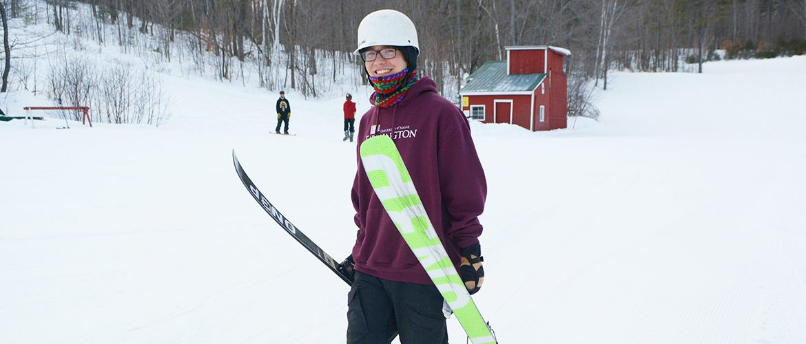 Student going skiing at Farmington's Titcomb Mountain