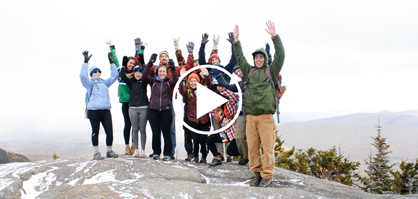 Students at the summit of Tumbledown Mountain in winter