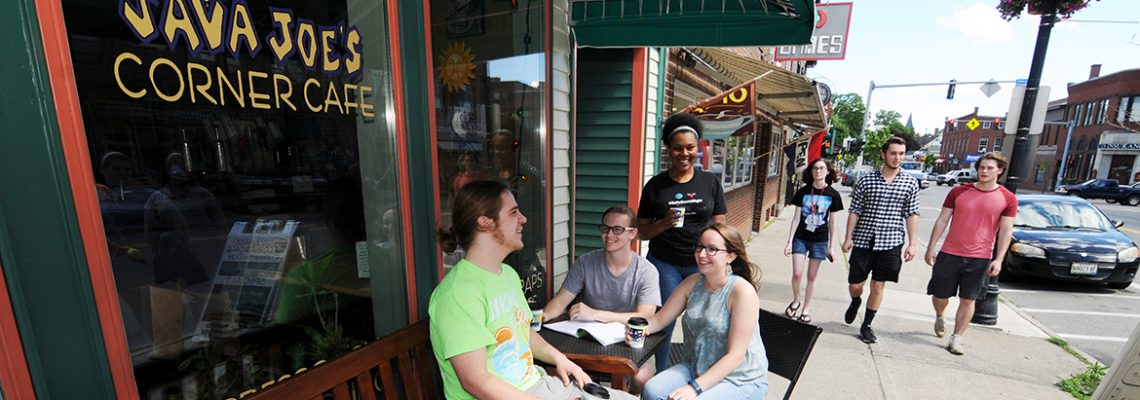 Students hanging out at Farmington's Java Joe's Cafe