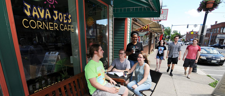 Students hanging out at Farmington's Java Joe's Cafe
