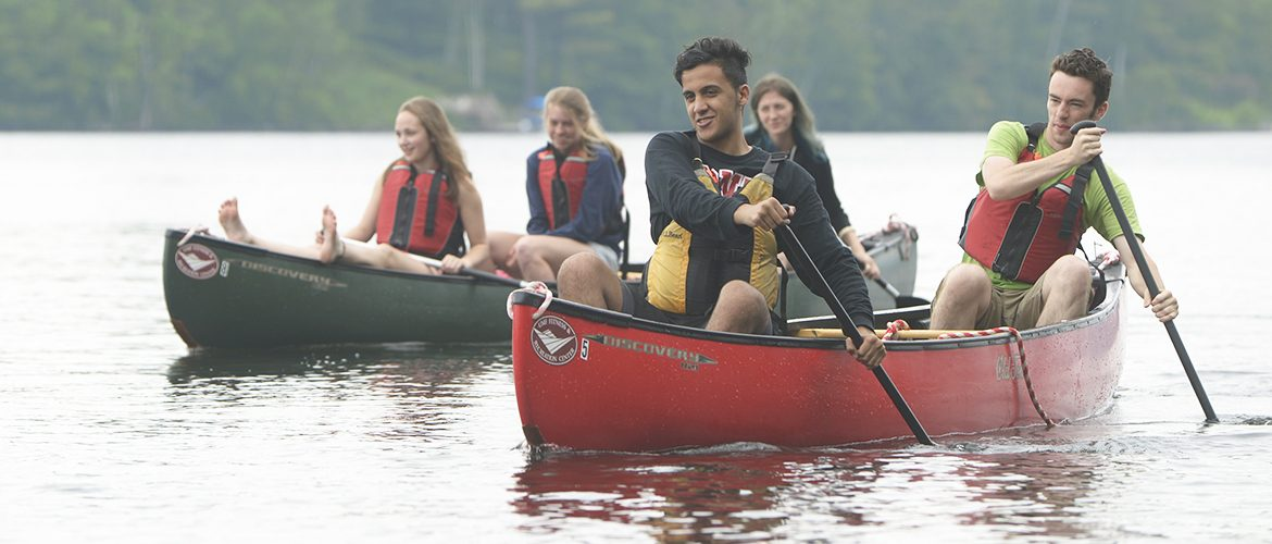 Students canoeing on Wilson Lake