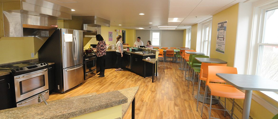 Students in Lockwood Hall's communal kitchen
