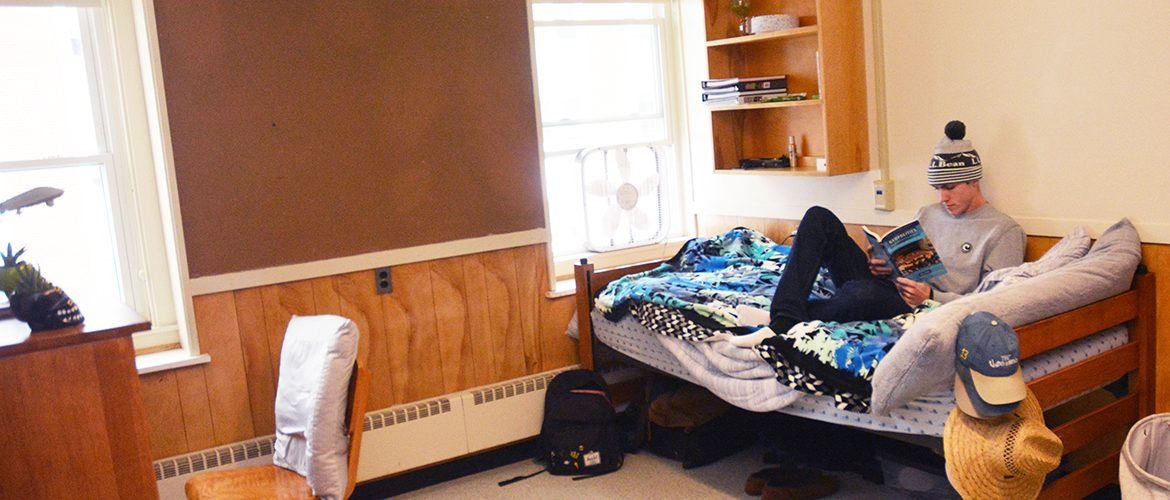 Student in a residence hall room