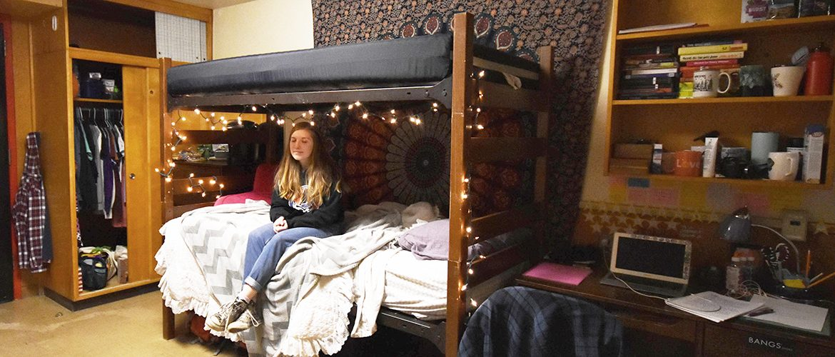 Students in a residence hall room