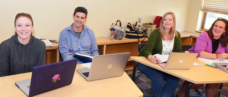 A graduate studies classroom scene
