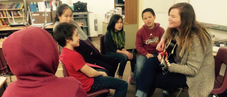 Teacher with students in Alaska