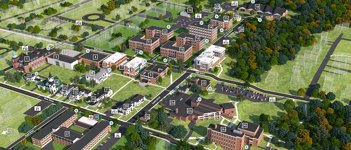 Aerial view of UMF campus with blue dot labels for safety phones/callboxes.