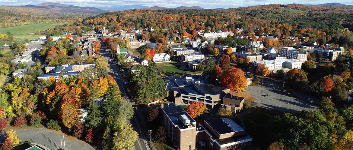 Ariel View of University of Maine and the town of Farmington.