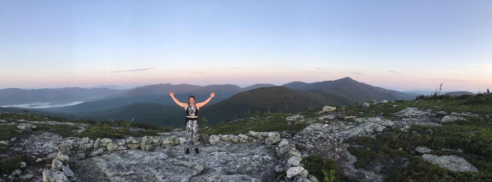 Student Celebrating a hike.