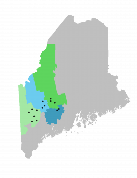 Map of Maine Labelled with the counties and towns UMF Upward Bound Serves.