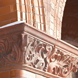 Closeup image of the arches of Merrill Hall