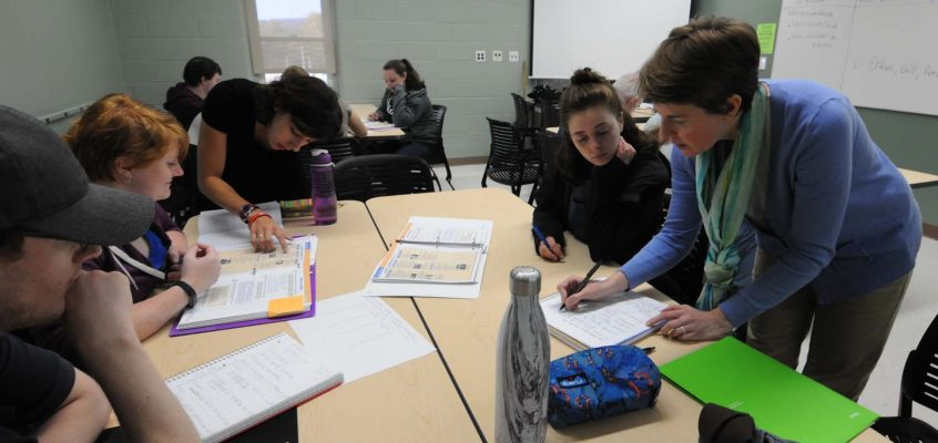 UMF Assistant Professor of French Olivia Donaldson (standing far right) and her teaching assistant work one-on-one with students