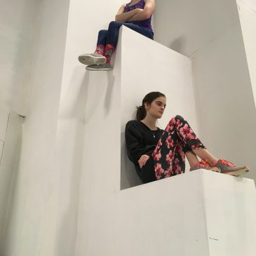 Chloe Woodward and Lizzie Mitchell rehearse for Staring Up at Giants.