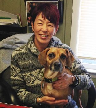Miyako Kinoshita with dog