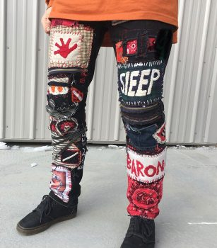 Artistically made patchwork pants