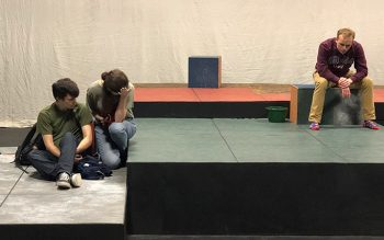 "Theatre UMF students in fall production of ""The Curious Incident of the Dog in the Night-time."""