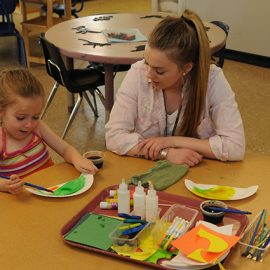 UMF Education major gains real world classroom experience at on-campus Sweatt-Winter Childcare Center.