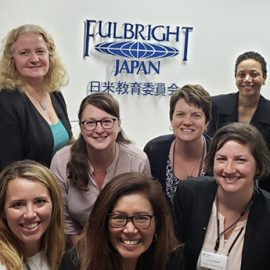 (Top row, second from left) Linda Beck, University of Maine at Farmington associate dean of experiential and global education, is joined by nine other Fulbright recipients for the 2019 International Education Administrators program in Japan.