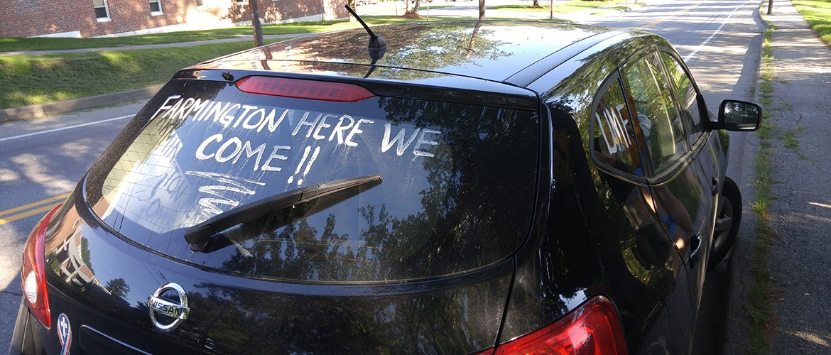 Car with message written on window during Move-In Day