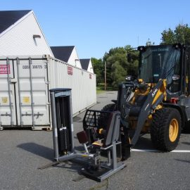A forklift used for moving weightlifting equipment out of the Fitness and Recreation Center.