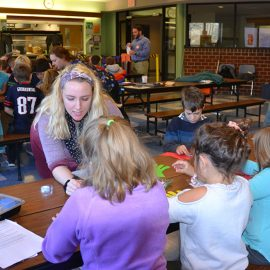 """UMF elementary education students bring the first annual """"Wonders of the Human Body"""" science fair to third-grade students at Cascade Brook School in Farmington."""