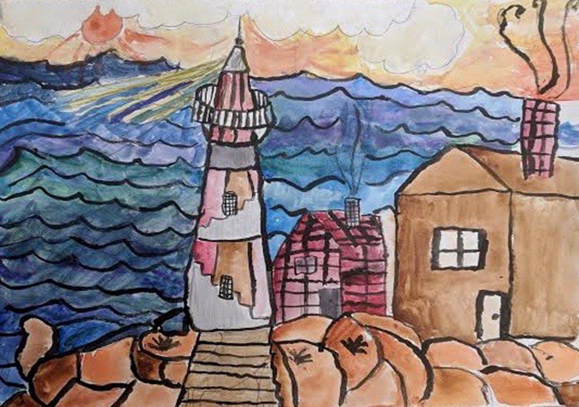 Lighthouse by Wyatt Jessen, 4th grade, Cascade Brook School