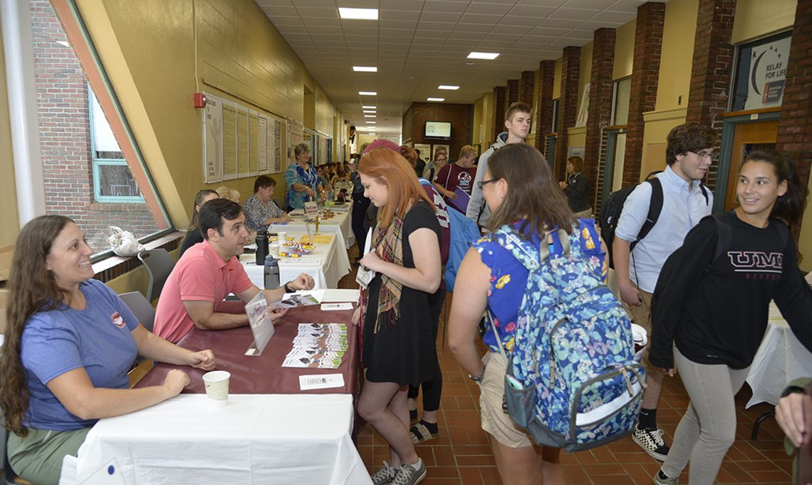 UMF students explore employment and internship opportunities during one of the university's yearly career fairs.