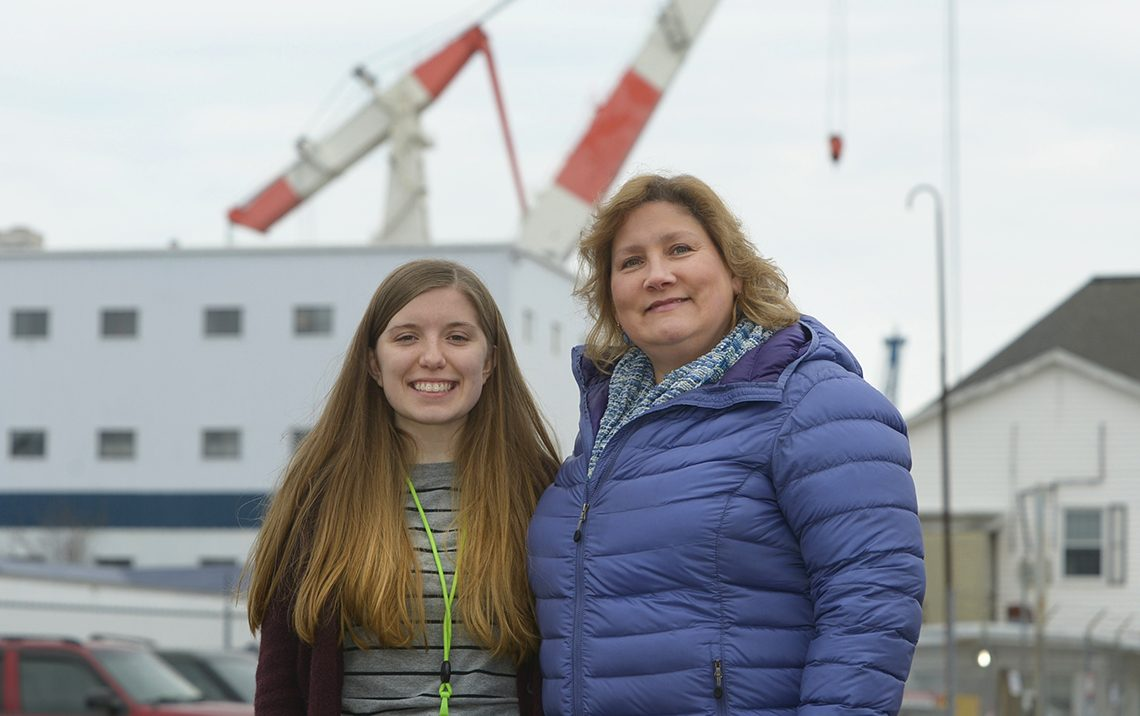 """Kendra Burgess and Wendy Castonguay, University of Maine at Farmington Community Health Education majors, are serving semester-long internships with Bath Iron Works """"Fit for Life"""" health program."""