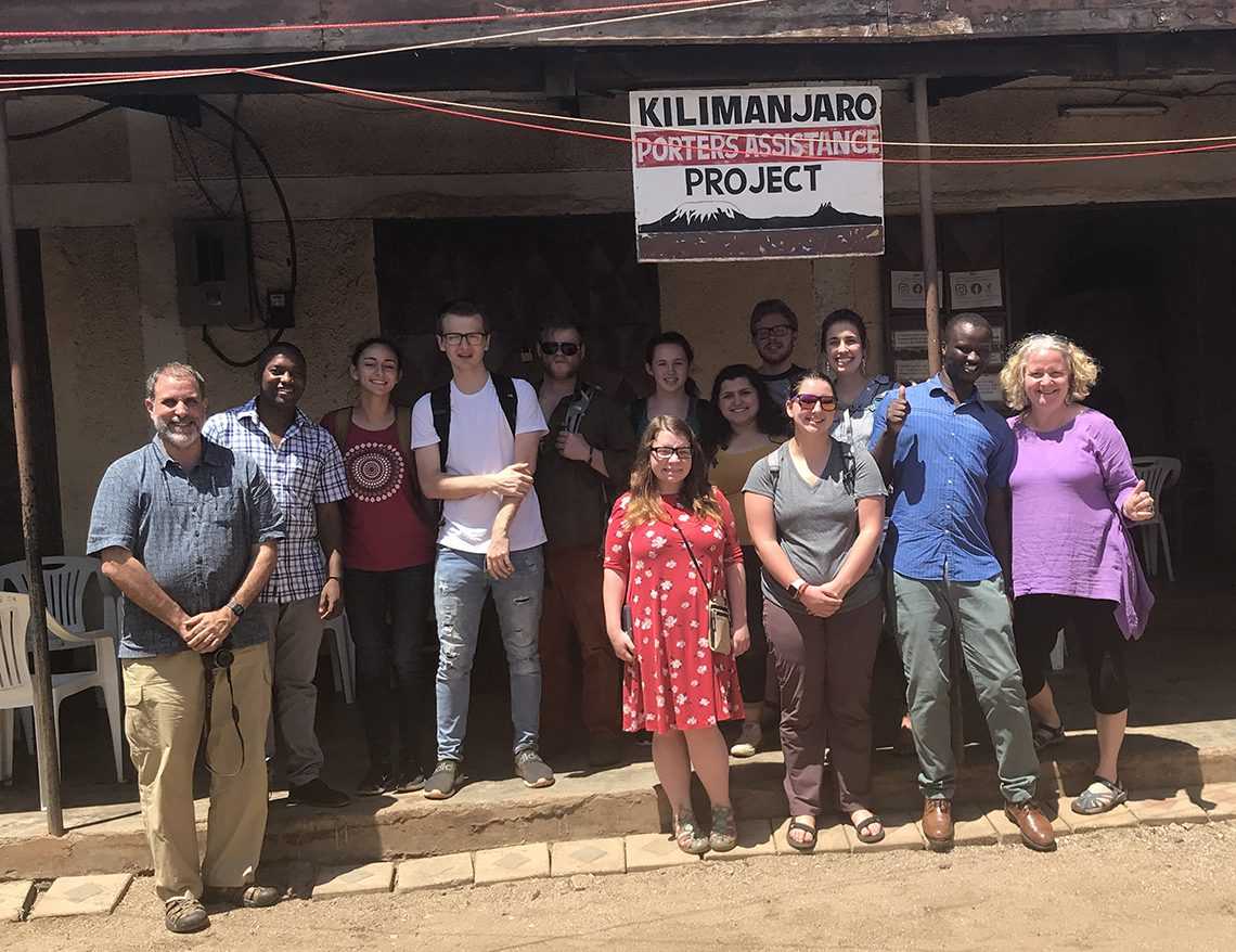As a significant part of their coursework, students visited the Kilimanjaro Porters Assistance Project, a non-profit initiative to raise public awareness of the fair and ethical treatment of porters on Kilimanjaro.