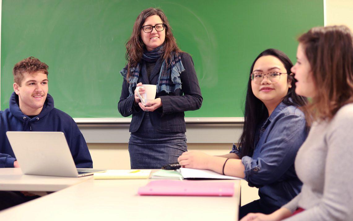 Natasha Lekes, UMF associate professor of psychology, teaching in the classroom